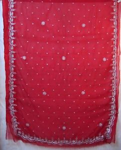 Red Classic Hand Embroidery Sari Saree day-to-day deals Eire Garment Girls #1NHOX