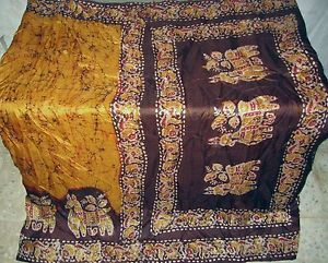 Yellow Espresso Pure Silk Classic Sari Saree Lot day-to-day specials WallHanging US #1NQQ6