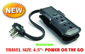 TRAVEL DAILY DEALS! DBL SIDED power strip w/3 outlets-A TABLET MUST HAVE!