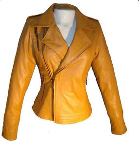 Girls Leather Jacket Honey With three Entrance Pockets Sz 2XL Every day Specials