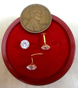 22k Gold Nose Ear Pin Stud Ring 1 stone jewel Jewellery officer each day promotions #1NWH4