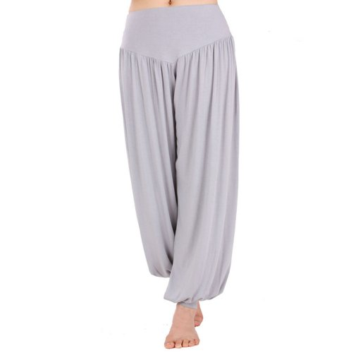 HOEREV Super Tender Modal Spandex Harem Yoga/ Pilates Trousers, Grey, Medium