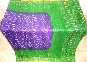 Violet Environmentally friendly Pure Silk four property Vintage Sari Saree day by day promotions Designer Hot #1O0ED