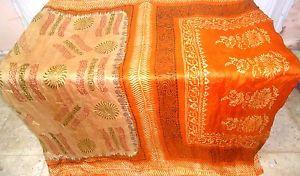 Espresso Orange Pure Silk 4 yd Classic Sari Saree celebration every day deals #1O0GQ