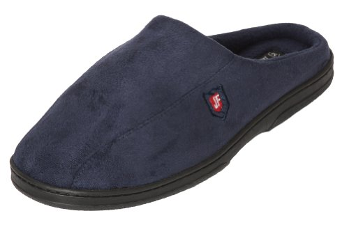 J. Fiallo Mens New Fake Suade, Memory Foam Truly feel, Slip-on Clog Slippers (Big, Navy)