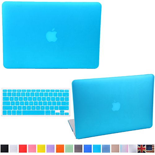 HDE Frosted Matte Rubber Coated Tough Shell Clip Snap-On Case Include for Macbook Pro 13″ (A1278) + Matching Keyboard Skin (Blue)