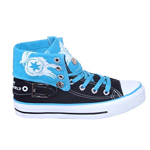 NEW Style!! Substantial Best Fold Down Canvas Ladies Sneakers Most effective Vendor (eight, blk/blue) [Attire]