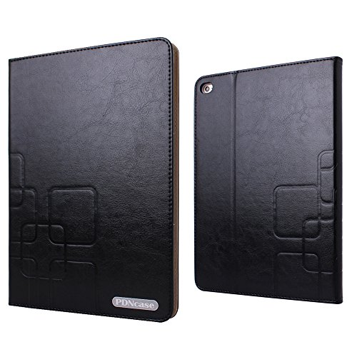 Pdncase iPad Air two Scenario High quality Sheep Pores and skin Leather-based Address with Slumber/Wake Operate Compatible for iPad Air two – Black