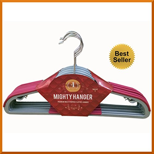 ★Best Seller★ Mighty Hanger™ Premium Clothes Hanger for Baby, Kids or Adults – Extra Strong, Ultra Thin 1/7″(4mm), Space Saver, Fully Protect Against Unwanted Dent – Luxuriously Flocked – Best All in One Flocked Hanger for Your Finest Clothes, Ties, Scarves, Towels, Belts, Skirts – Rose Red Color, Bulk Set of 10