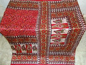 Red Off-White Pure Silk Antique Sari Saree SALE each day promotions hottest fashion #1SFIV