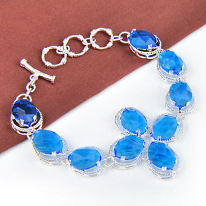 133.80Ct Everyday Offers Vogue Marquise Blue Topaz Gems Silver Chain Bracelet 8″