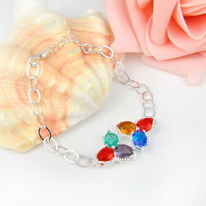 9.18Ct Every day Offers Marquise Shiny Multi-colour Topaz Gems Silver Bracelet 7 3/four""