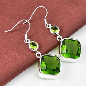58.75Ct Each day Discounts Hopeful Cherished Peridot Silver Dangle Earrings 2″