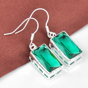 28.85Ct Day by day Promotions Twinkling Green Topaz Gems Silver Dangle Earrings 1 3/8″