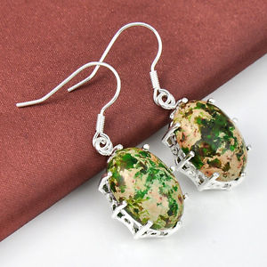 34.80Ct Everyday Specials Precious Normal Imperial Jasper Silver Dangle Earrings 2″