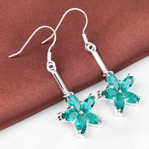 Manner Everyday Promotions Twinkling Flower Environmentally friendly Topaz Silver Dangle Earrings 1 three/4″