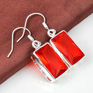 """28.85Ct Each day Promotions Twinkling Fireplace Cognac Citrine Gems Silver Earrings 1 three/eight"""""""