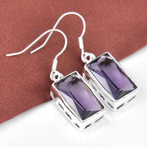 """28.85Ct Every day Discounts Amazing Lavender Amethyst Gems Silver Dangle Earrings 1 3/eight"""""""