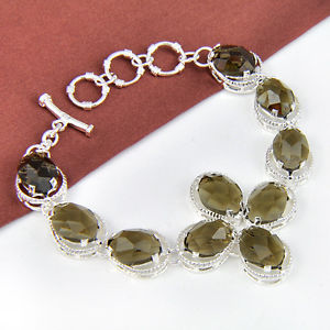 133.80Ct Day-to-day Specials Traditional Oval Smoky Quartz Gems Silver Chain Bracelet 8″