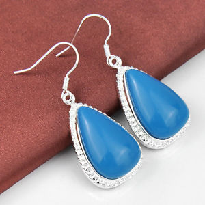 42.85Ct Each day Promotions Fairly Triangle Fashion Turquoise Silver Dangle Earrings New