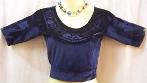 "Navy Blue Velvet Blouse Best Sari thirty"" everyday specials Spain Training Malaysia #1SIIL"