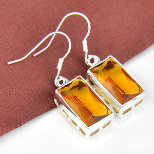 """28.85Ct Day by day Specials Twinkling Honey Brazil Citrine Gems Silver Earrings one three/eight"""""""