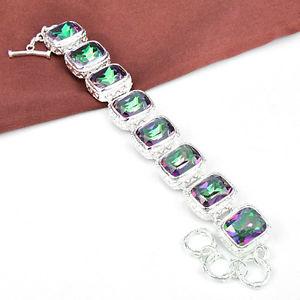 209.55Ct Daily Deals Ideal Queen Mystical Rainbow Fire Topaz Silver Bracelet