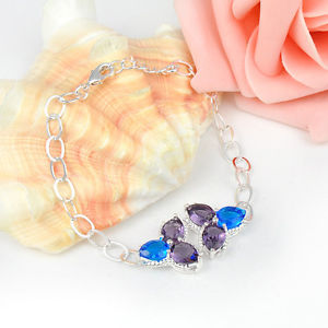 nine.18Ct Everyday Offers Marquise Glowing Amethyst Blue Topaz Silver Bracelet seven 3/4″
