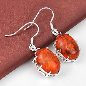 34.80Ct Everyday Bargains Exceptional Normal Imperial Jasper Silver Dangle Earrings 2″