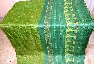Green Pure Silk 4 yard Classic Sari Saree Piece slicing day-to-day deals Drape #1SMP0