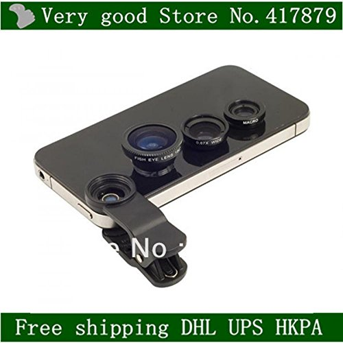 Common clip get hold of lens mobile cellular phone Fisheye+macro+broad angle 3in1 fisheye for samsung apple iphone HTC LG Sony,free DHL,100pcs/whole lot