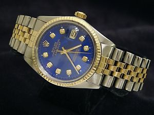Rolex Submariner Blue 18K Gold Stainless Steel Diamond Two Tone