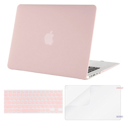Mosiso Plastic Hard Case with Keyboard Cover with Screen Protector for MacBook Air 13 Inch (Models: A1369 and A1466), Rose Quartz