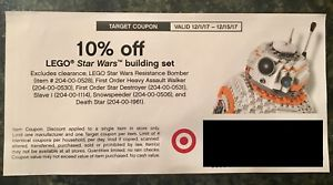 Target 10% off In Store Coupon for Lego Star Wars building set 12/1/17-12/15/17