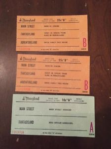 c. 1970s Disneyland Tickets or Coupons for Rides Adult Admission CC