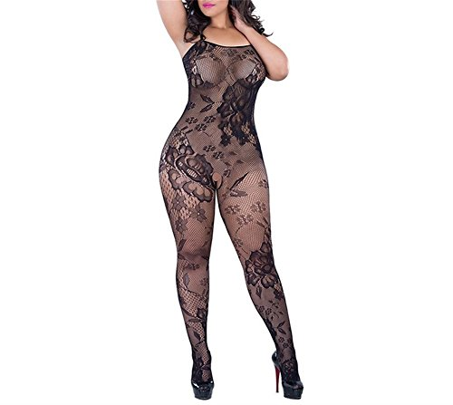Crotchless Bodystocking Plus Size Open Crotch Lingerie for Women (Sleeveless_Black)