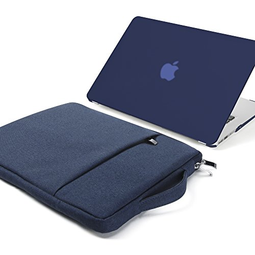 GMYLE 2 in 1 Bundle Soft-Touch Frosted Hard Case for Macbook Air 13 inch (Model: A1369/ A1466) and 13- 13.3 inch Water Repellent Laptop Sleeve with Handle and Pocket – Navy Blue