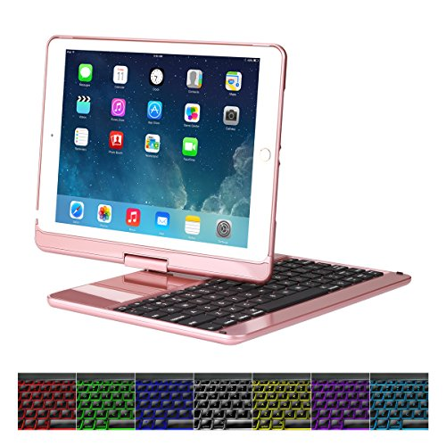 Cstorm 9.7″ New iPad 2017 Bluetooth Wireless Smart Keyboard Case 7 Color LED Backlit Ultra Thin Auto Sleep Wake up 360 Rotatable Stand Folio Protective Dust-proof Cover for iPad Air Air2 Pro9.7″