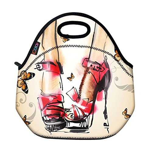 High-Heel Butterfly Thermal Neoprene Waterproof Kids Insulated Lunch Portable Carry Tote Picnic Storage Bag Lunch box Food Bag Gourmet Handbag Cooler warm Pouch Tote bag For School work Office FLB-011