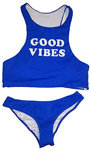 Victoria's Secret 2 Piece Racerback Top Ruched Bottom Good Vibes Blue Swimsuit S