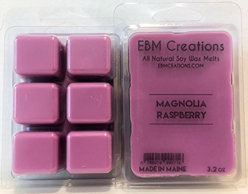 Magnolia Raspberry – Scented All Natural Soy Wax Melts – 6 Cube Clamshell 3.2oz DOUBLE SCENTED!