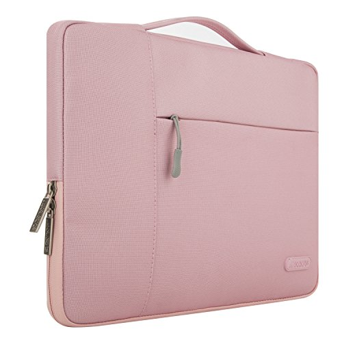 Mosiso Polyester Fabric Multifunctional Sleeve Briefcase Handbag Case Cover for 13-13.3 Inch Laptop, Notebook, MacBook Air/Pro, Pink