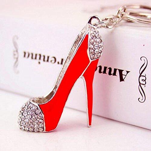 Fashion Lady's High Heel Shoe Rhinestone Alloy Women Bag or Car Keychain (Red)