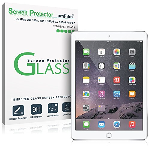 New iPad 9.7 Inch / iPad Pro 9.7 Inch / iPad Air / iPad Air 2 Screen Protector Glass, amFilm Glass Screen Protector for Apple iPad Air 2, iPad Air, iPad Pro 9.7 inch, 5th Gen 2016 2017 (1-Pack)