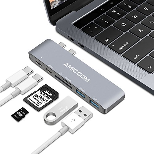USB-C Hub, Aluminum Type-C Hub Adapter for 2016/2017 MacBook Pro 13″ & 15″ with 2 Superspeed 50Gbs USB 3.0 Ports, Thunderbolt 3, USB C Charging, USB C Data Port, SD reader