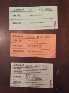 c. 1970s Disneyland Tickets or Coupons for Rides Junior Admission AA