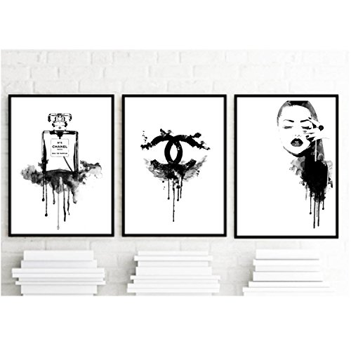8.5×11 Set of 3 art prints – Coco Chanel Inspirational Print Home Decor Typography Poster Black and White Wall Art