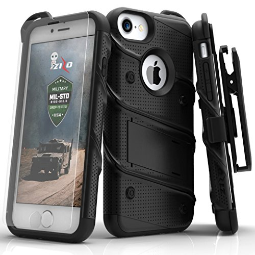 Zizo Bolt Series Military Grade Drop Tested Armor Kickstand Holster Belt Clip Case with Tempered Glass Screen Protector for iPhone 7, iPhone 6s, and iPhone 6, Black/Black